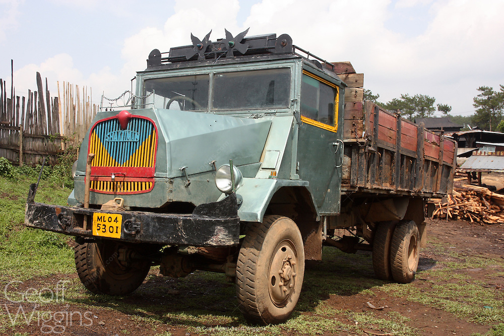 Vintage ex Indian army Shaktiman truck (based on the German MAN 415) at a timber yard in Meghalaya northern east India
