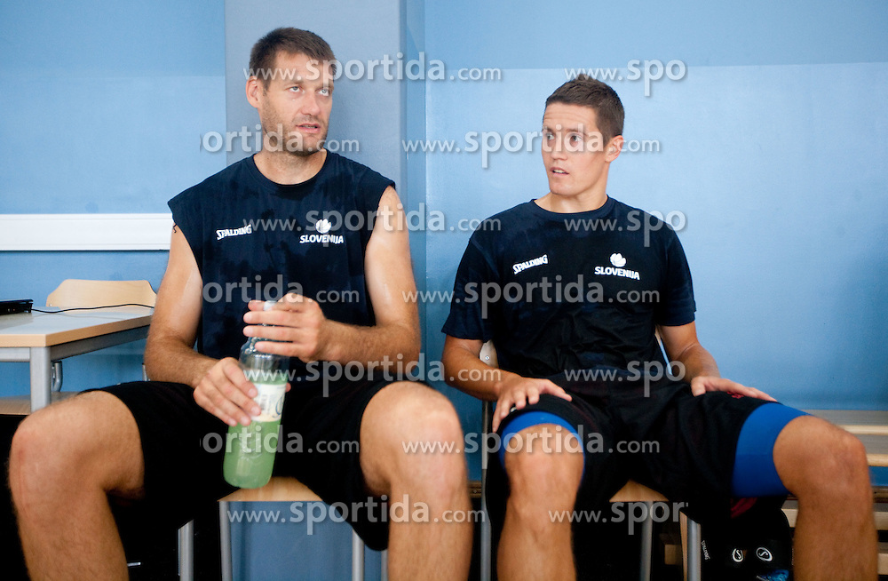 Goran Jagodnik and Jaka Lakovic during media day at training camp of Slovenian National Basketball team for Eurobasket Lithuania 2011, on July 19, 2011, in Arena Ljudski vrt, Ptuj, Slovenia.  (Photo by Vid Ponikvar / Sportida)