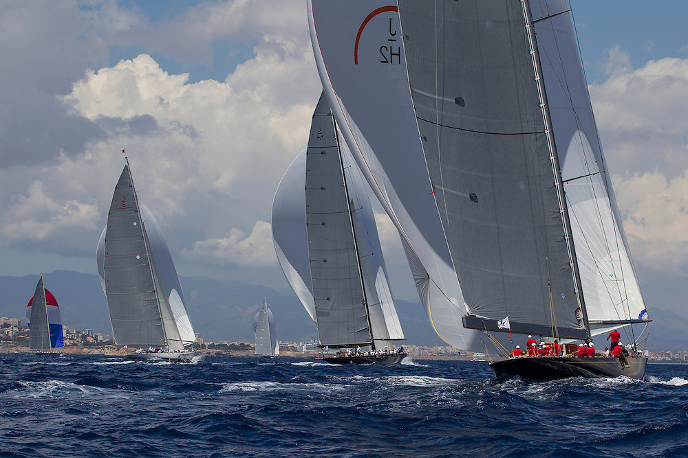 SPAIN, Palma. 22nd June 2013. Superyacht Cup. Race Four, Coastal Race. L-R, Velsheda, Ranger, Lionheart, Hanuman, Rainbow.