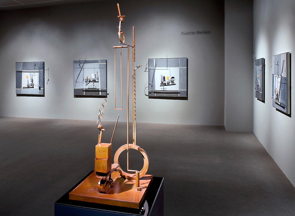 kinetic sculptures by Fletcher Benton displayed at Imago Gallery in Palm Desert, CA