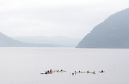 New Windsor, New York - A group of kayakers meet in the Hudson River at the Paddlefest event sponsored by the Mid-Hudson Chapter of the Adirondack Mountain Club at Kowawese Unique Area at Plum Point on  Sunday, June 13, 2010.