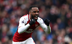 Arsenal's Alexandre Lacazette celebrates scoring his side's third goal of the game during the Premier League match at The Emirates Stadium, London.