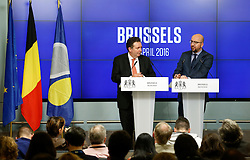 Belgian Prime Minister Charles Michel (R) and Minister-President of Brussels Region Rudi Vervoort address a press conference two weeks after the Brussels terrorist attacks, in Brussels, Belgium, April 6, 2016. At least 31 people were killed and hundreds injured in the Brussels terrorist attacks on March 22. EXPA Pictures © 2016, PhotoCredit: EXPA/ Photoshot/ Ye Pingfan<br /> <br /> *****ATTENTION - for AUT, SLO, CRO, SRB, BIH, MAZ, SUI only*****