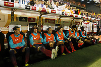 F.C. Barcelona´s players sit in the bench during the Spanish Copa del Rey `King´s Cup´ final soccer match between Real Madrid and F.C. Barcelona at Mestalla stadium, in Valencia, Spain. April 16, 2014. (ALTERPHOTOS/Victor Blanco)