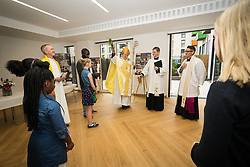Opening of CofE church St Francis at The Engine Room, community centre and and church at the heart of the new housing development in the Hale Village, Tottenham Hale, North London UK 2017. Dedicated by the Bishop of Edmonton