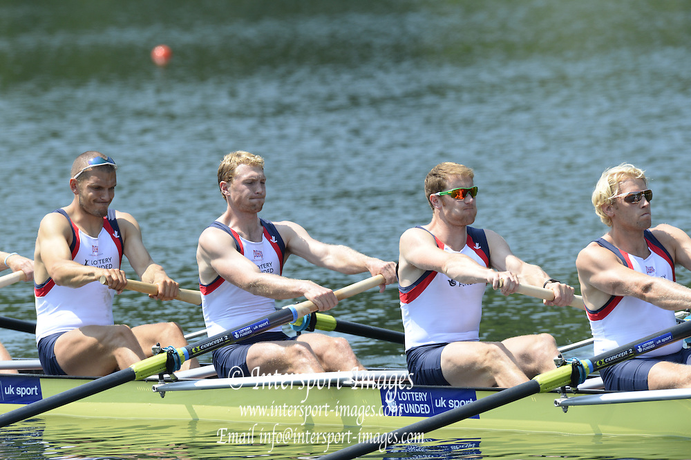 Lucerne. Switzerland. GBR1 M8+. Bow. Tom RANSLEY, Dan RICHIE, Peter REED, Will SATCH, Mo SBIHI, Alex GREGORY George NASH, Andy TRIGGS HODGE and cox,  Phelan HILL, move away from the start pontoon in their heat of the  men's eights FISA WC III. 13:48:23  Friday  12/07/2013  [Mandatory Credit, Peter Spurrier/ Intersport Images] Lake Rotsee,