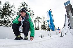 03.01.2014, Bergisel Schanze, Innsbruck, AUT, FIS Ski Sprung Weltcup, 62. Vierschanzentournee, Training, im Bild Andreas Felder (AUT) beim präparieren der Anlaufspur // Andreas Felder (AUT) while preparing the in-run before practice Jump of 62nd Four Hills Tournament of FIS Ski Jumping World Cup at the Bergisel Schanze, Innsbruck, <br /> Austria on 2014/01/03. EXPA Pictures © 2014, PhotoCredit: EXPA/ JFK