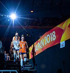 20-10-2018 JPN: Final World Championship Volleyball Women day 18, Yokohama<br /> China - Netherlands 3-0 / Maret Balkestein-Grothues #6 of Netherlands, Kirsten Knip #1 of Netherlands