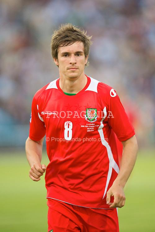 BAKU, AZERBAIJAN - Saturday, June 6, 2009: Wales' Aaron Ramsey in action against Azerbaijan during the 2010 FIFA World Cup Qualifying Group 4 match at the Tofig Bahramov Stadium. (Pic by David Rawcliffe/Propaganda)