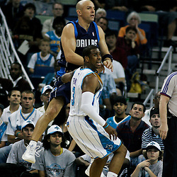 12 April 2009: Dallas Mavericks guard Jason Kidd (2) passes away from New Orleans Hornets guard Chris Paul (3) during NBA game between the New Orleans Hornets and the Dallas Mavericks on Easter Sunday at the New Orleans Arena in New Orleans, Louisiana.