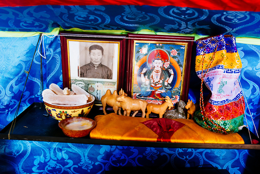 A family shrine in a traditional ger home near Khovsgol Lake in northern Mongolia.