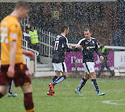 Dundee&rsquo;s Greg Stewart congratulates Dundee&rsquo;s Paul McGowan after the midfielder's goal had made the score 1-1 - Dundee v Motherwell, Ladbrokes Premiership at Dens Park <br /> <br />  - &copy; David Young - www.davidyoungphoto.co.uk - email: davidyoungphoto@gmail.com