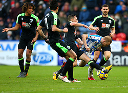 Alex Pritchard of Huddersfield Town is fouled in the penalty area by Dan Gosling of Bournemouth - Mandatory by-line: Robbie Stephenson/JMP - 11/02/2018 - FOOTBALL - The John Smith's Stadium - Huddersfield, England - Huddersfield Town v Bournemouth - Premier League