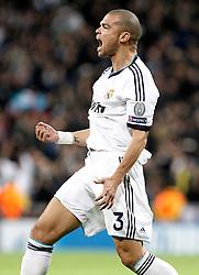 06-11-2012 VOETBAL: UEFA CL REAL MADRID - BORUSSIA DORTMUND: MADRID<br />  Real Madri's Pepe celebrates goal <br /> ***NETHERLANDS ONLY***<br /> ©2012-FotoHoogendoorn.nl