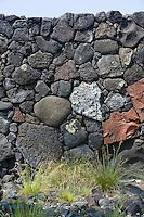 Part of the Great Wall on the shore of Hawaii the big island at Pu'uhonua o Honaunau National Historical Park