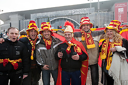 Supporters of Macedonia prior to the handball match between Slovenia and F.Y.R. Macedonia for 5th place at 10th EHF European Handball Championship Serbia 2012, on January 27, 2012 in Beogradska Arena, Belgrade, Serbia.  (Photo By Vid Ponikvar / Sportida.com)