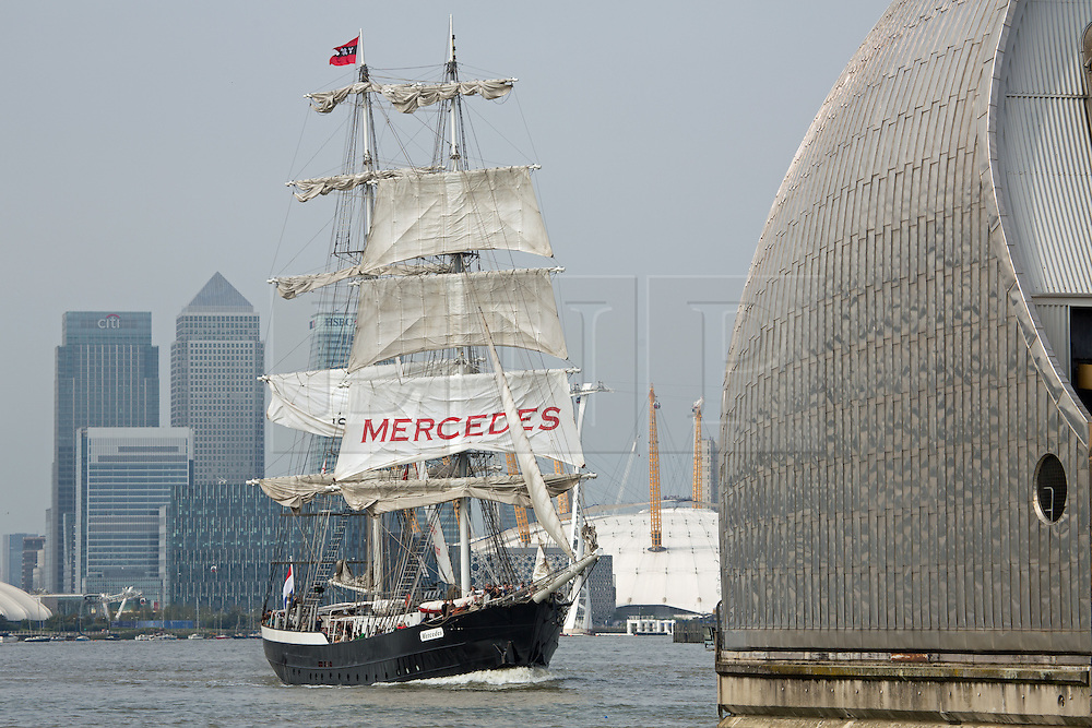 © Licensed to London News Pictures. 07/09/2014. Mercedes approaching the Barrier. The biggest tall ships event in London for 25 years is continuing across this weekend. Visitors took the opportunity to sail in tall ships up and down the Thames and go onboard those moored at Greenwich and Woolwich. The Royal Greenwich Tall Ships Festival concludes on Tuesday when all 50 vessels will sail down river together. Credit : Rob Powell/LNP