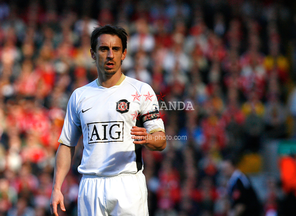Liverpool, England - Saturday, March 3, 2007:  Manchester United's Gary Neville during the Premiership match at Anfield. (Pic by David Rawcliffe/Propaganda)