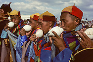 Mongolia. monks calling for prayer during the naadam in dalanzadgad, capital of the Gobi desert   dalanzadgad  Mongolia