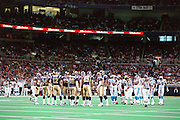 The St. Louis Rams and the Carolina Panthers prepare to line up during a game at the Dome at America's Center that the Rams win 48 to 14 on 11/11/2001..©Wesley Hitt/NFL Photos