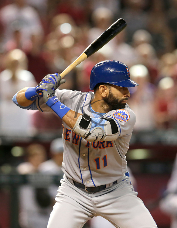 New York Mets center fielder Jose Bautista (11) in the first inning during a baseball game against the Arizona Diamondbacks, Sunday, June 17, 2018, in Phoenix. (AP Photo/Rick Scuteri)