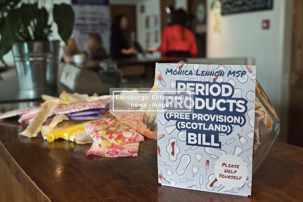 Pictured: Period products<br /> <br /> Labour health spokeswoman Monica Lennon will formally lodge her period poverty Member's Bill to help make Scotland a world leader for period poverty. Ms Lennon was joined by members from CoSLA, Comminication Workers Union, representatives from YWCA,  girl guides, local and national politicians in Edinburgh before her Bill was laid before the Scottish Parliament<br /> <br /> <br /> Ger Harley | EEm 24 April 2019