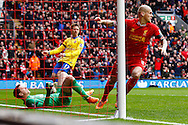Martin Skrte of Liverpool celebrates scoring the opening goal during the Barclays Premier League match at Anfield, Liverpool<br /> Picture by David Horn/Focus Images Ltd +44 7545 970036<br /> 08/02/2014