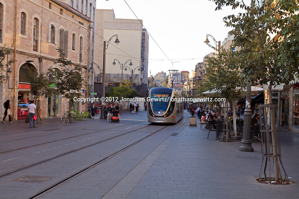 A train in Jerusalem's light rail system on Jaffa Street in downtown Jerusalem. WATERMARKS WILL NOT APPEAR ON PRINTS OR LICENSED IMAGES.