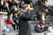 Hull City Manager Nigel Adkins whilst his team is taking and missing a penalty kick during the EFL Sky Bet Championship match between Hull City and Swansea City at the KCOM Stadium, Kingston upon Hull, England on 22 December 2018.