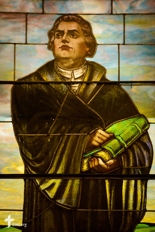 Stained glass of Martin Luther at Zion Lutheran Church on Thursday, July 13, 2017, in Ottawa, Ill.  LCMS Communications/Erik M. Lunsford