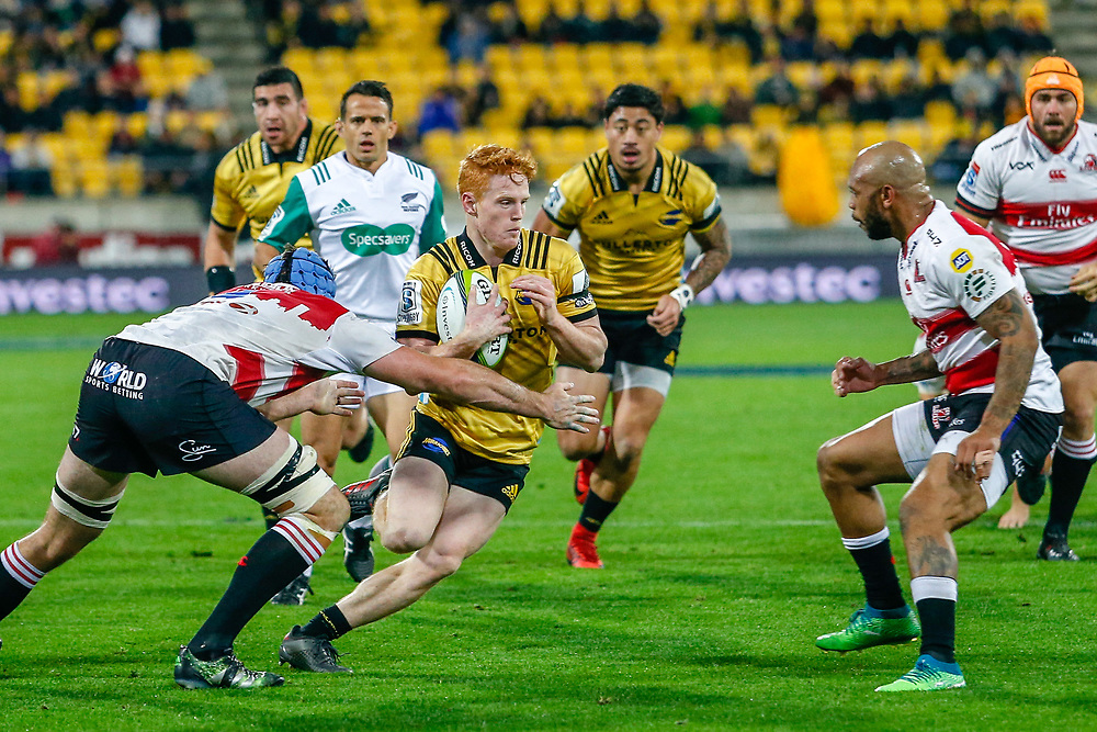 Finlay Christie runs during the Super rugby (Round 12) match played between Hurricanes  v Lions, at Westpac Stadium, Wellington, New Zealand, on 5 May 2018.  Hurricanes won 28-19.