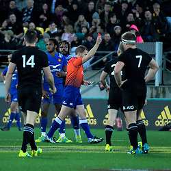 Referee Angus Gardiner red cards France's Benjamin Fall during the Steinlager Series international rugby match between the New Zealand All Blacks and France at Westpac Stadium in Wellington, New Zealand on Saturday, 16 June 2018. Photo: Dave Lintott / lintottphoto.co.nz