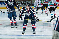 KELOWNA, CANADA - JANUARY 22: Parker Wotherspoon #37 of Tri City Americans warms up <br /> against the Kelowna Rockets on January 22, 2016 at Prospera Place in Kelowna, British Columbia, Canada.  (Photo by Marissa Baecker/Shoot the Breeze)  *** Local Caption *** Parker Wotherspoon;