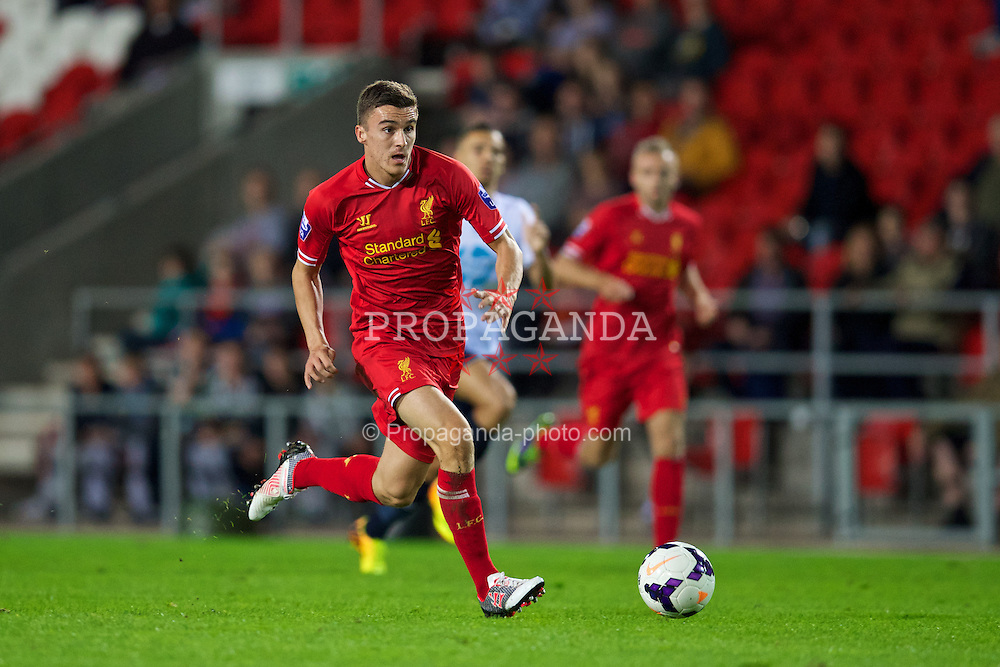 ST HELENS, ENGLAND - Monday, October 7, 2013: Liverpool's Adam Morgan in action against Tottenham Hotspur during the Under 21 FA Premier League match at Langtree Park. (Pic by David Rawcliffe/Propaganda)