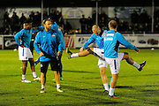 Eastleigh players warming up before the The FA Cup match between Eastleigh and Swindon Town at Arena Stadium, Eastleigh, United Kingdom on 4 November 2016. Photo by Graham Hunt.