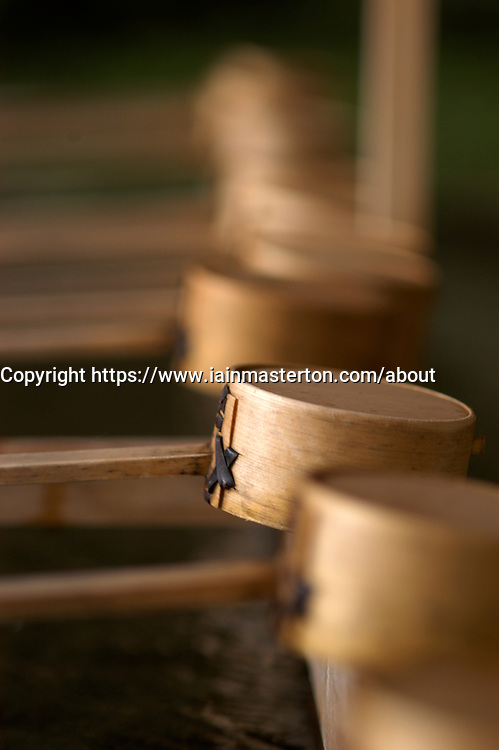 Detail of traditional bamboo drinking cups at Meiji Shrine in Tokyo
