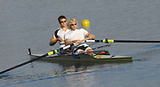 Hazenwinkel, BELGIUM,  Left,  Peter REED and Andy TWIGGS HODGE, boat before paddling down to the morning start of the time Trials, at the GB Rowing Senior Trials, on Sun,15.04.2007  [Credit, Peter Spurrier/Intersport-images]   [Mandatory Credit, Peter Spurier/ Intersport Images]. , Rowing Course, Bloso, Hazewinkel. BELGUIM