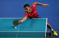 February 23, 2018 - London, England, United Kingdom - Quentin ROBINOT of France .during 2018 International Table Tennis Federation World Cup match between Quentin ROBINOT of France against Anton KALLBERG of Sweden  at Copper Box Arena, London  England on 23 Feb 2018. (Credit Image: © Kieran Galvin/NurPhoto via ZUMA Press)