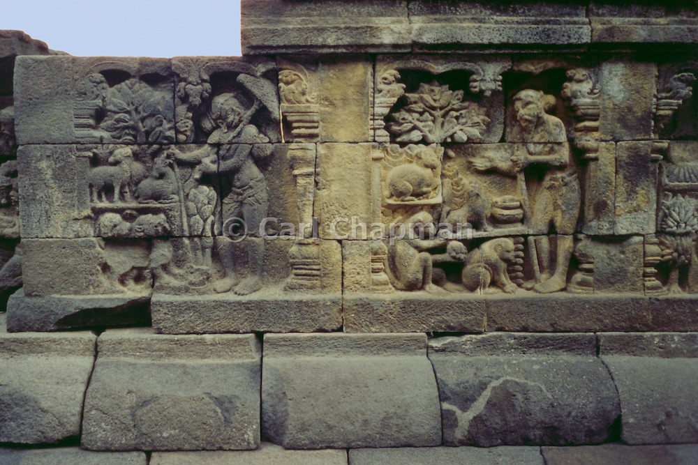 Carving at the Buddhist monument in Borobudur, Indonesia.
