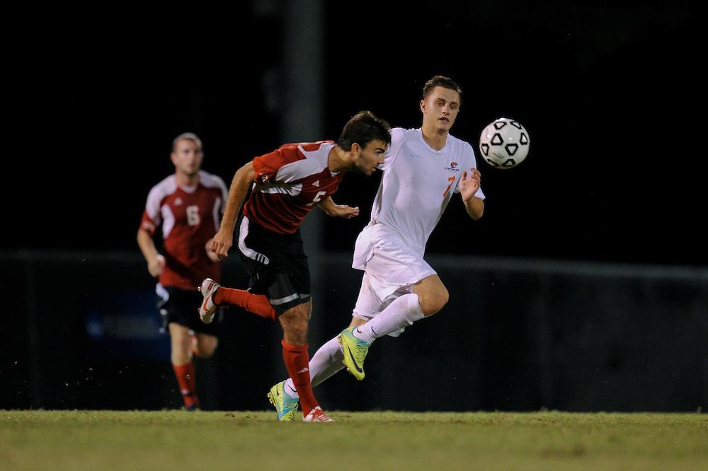 Sept. 15, 2012; Morrow, GA, USA; Clayton State men's soccer player Ado Junuzovic against Flagler at CSU. Photo by Kevin Liles/kdlphoto.com