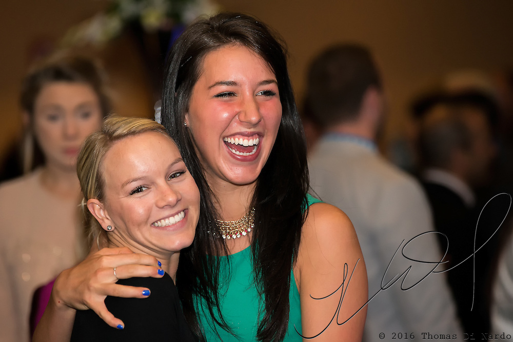 May 17, 2013 - Salt Lake City, Utah - Short track skater Emily Scott and Long Track skater Petra Acker enjoy the festivities at the US Speedskating Hall of Fame Banquet.