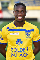 STVV's Yannis Mbombo poses for the photographer during the 2015-2016 season photo shoot of Belgian first league soccer team STVV, Friday 17 July 2015 in Sint-Truiden.