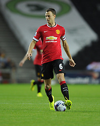 Manchester United's Jonny Evans - Photo mandatory by-line: Joe Meredith/JMP - Mobile: 07966 386802 26/08/2014 - SPORT - FOOTBALL - Milton Keynes - Stadium MK - Milton Keynes Dons v Manchester United - Capital One Cup