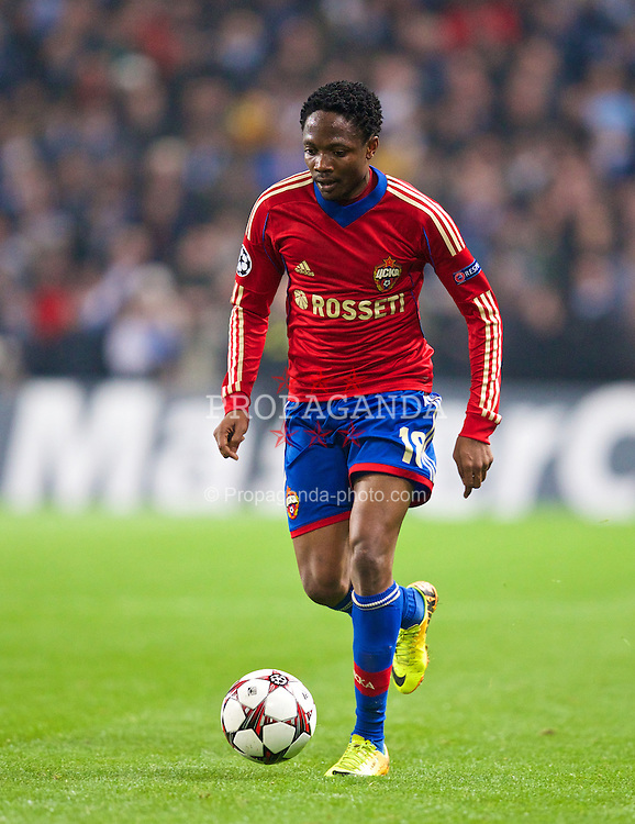 MANCHESTER, ENGLAND - Tuesday, November 5, 2013: CSKA Moscow's Ahmed Musa in action against Manchester City during the UEFA Champions League Group D match at the City of Manchester Stadium. (Pic by David Rawcliffe/Propaganda)