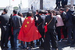 March 22, 2019 - Roma, RM, Italy - Chinese people await the arrival of Chinese President Xi Jinping on a visit to Rome. (Credit Image: © Matteo Nardone/Pacific Press via ZUMA Wire)