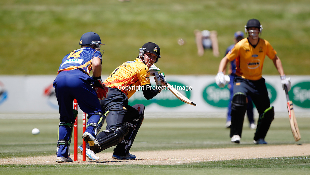 FIrebirds Brendon Taylor hits out during the Twenty20 Cricket - HRV Cup, Otago Volts v Wellington Firebirds, Saturday 31 December 2011, Queenstown Events Centre, Queenstown, New Zealand. Photo: Michael Thomas/photosport.co.nz
