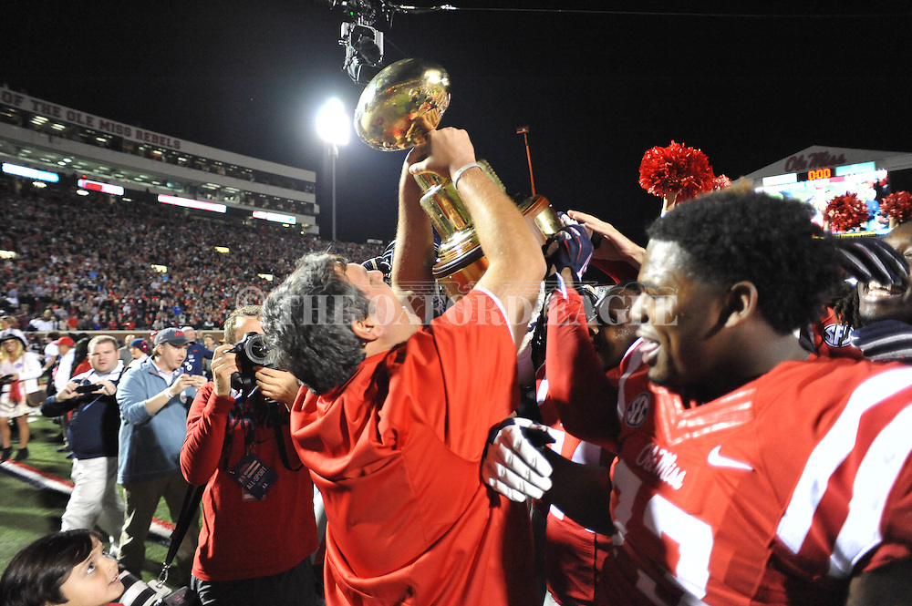 Ole Miss assistant coach Matt Luke vs. Mississippi State at Vaught-Hemingway Stadium in Oxford, Miss. on Saturday, November 29, 2014. Ole Miss won 31-17.