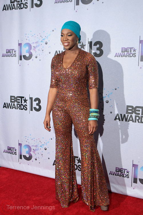 Los Angeles, CA-June 30:  Recording Artist India. Arie backstage at the 2013 BET Awards Winners's Room Inside held at LA Live on June 30, 2013 in Los Angeles, CA. ©Terrence Jennings/Retna, Ltd