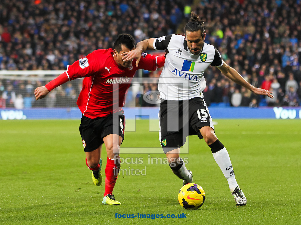 Picture by Tom Smith/Focus Images Ltd 07545141164<br /> 01/02/2014<br /> Gary Medel (left) of Cardiff City puts Jon&aacute;s Guti&eacute;rrez (right) of Norwich City under pressure during the Barclays Premier League match at the Cardiff City Stadium, Cardiff.