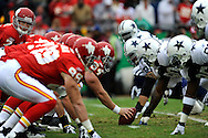 October 11, 2009:   The Kansas City Chiefs and the Dallas Cowboys line up in retro uniforms at Arrowhead Stadium in Kansas City, Missouri.  The Cowboys defeated the Chiefs in overtime 26-20...